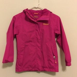 Marmot kids rain jacket size small hooded pink